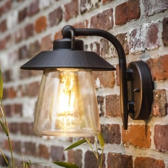 Cate Exterior Wall Lantern in Brown/Black