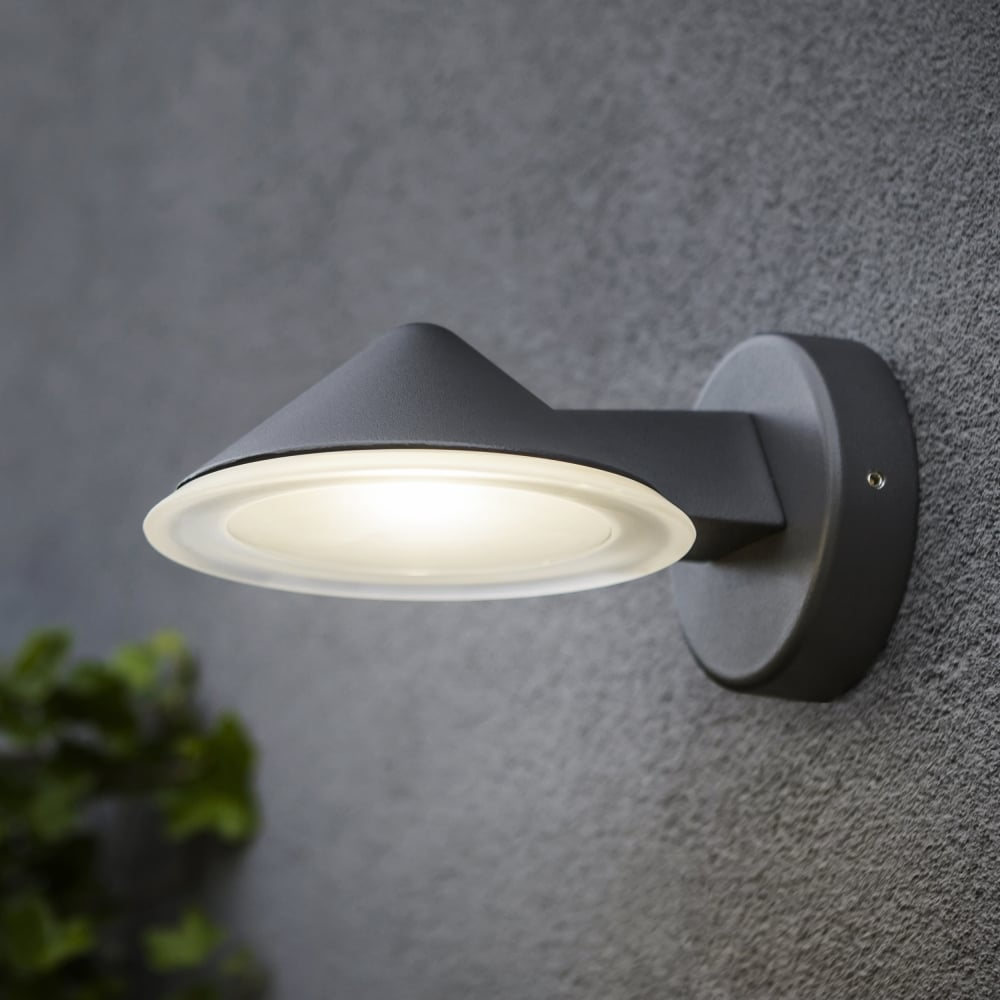 Lutec cone 12w exterior led wall down light in graphite fitting cone 12w exterior led wall down light in graphite aloadofball Images
