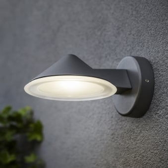 Cone 12W Exterior LED Wall Down Light in Graphite