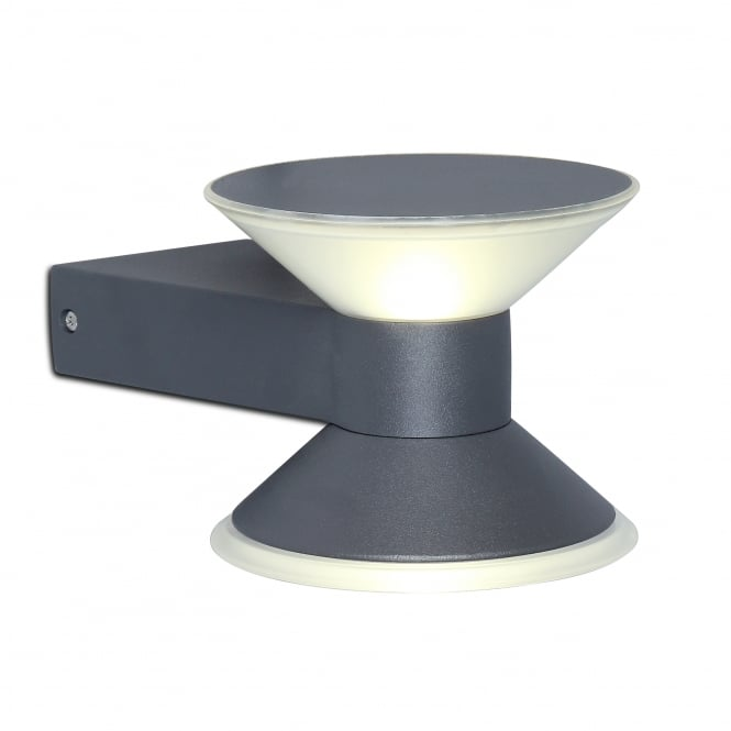 Lutec Cone Decorative 9W Exterior LED Wall Light in Graphite