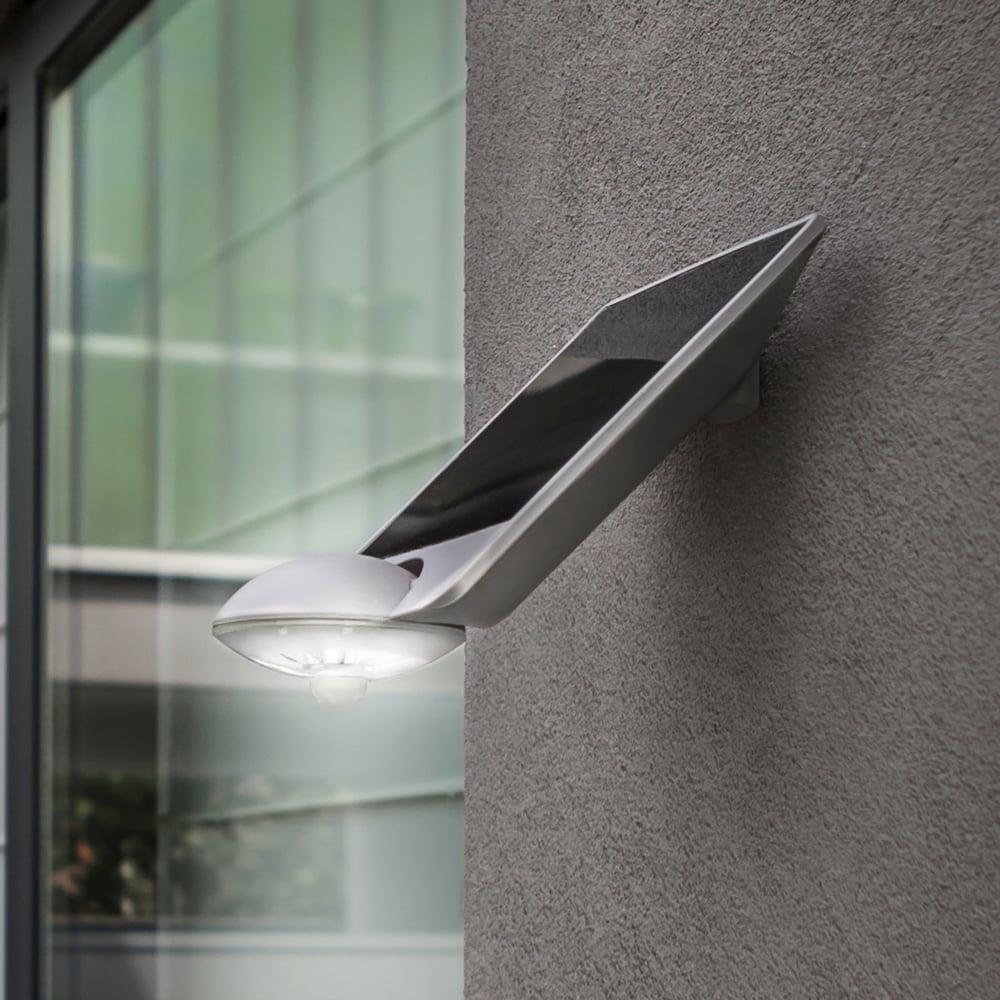 Lutec Drop Solar Powered 2.3W LED 240 Lumen Exterior PIR Wall Light - Fitting Type from Dusk ...