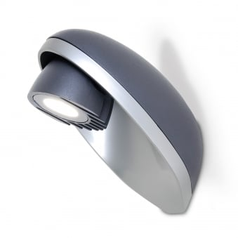 Eggo 9W Exterior Single LED Wall Light in Graphite and Silver