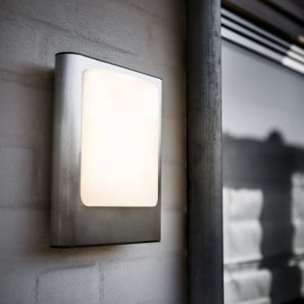 Face 13W Exterior LED Wall Light in Stainless Steel