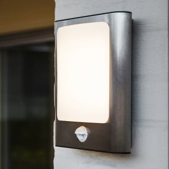 Face 13W PIR Exterior LED Wall Light in Stainless Steel