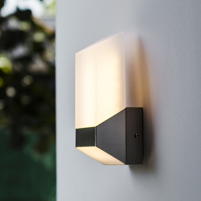 Lutec Flat 8W Exterior LED Wall Light in Stainless Steel
