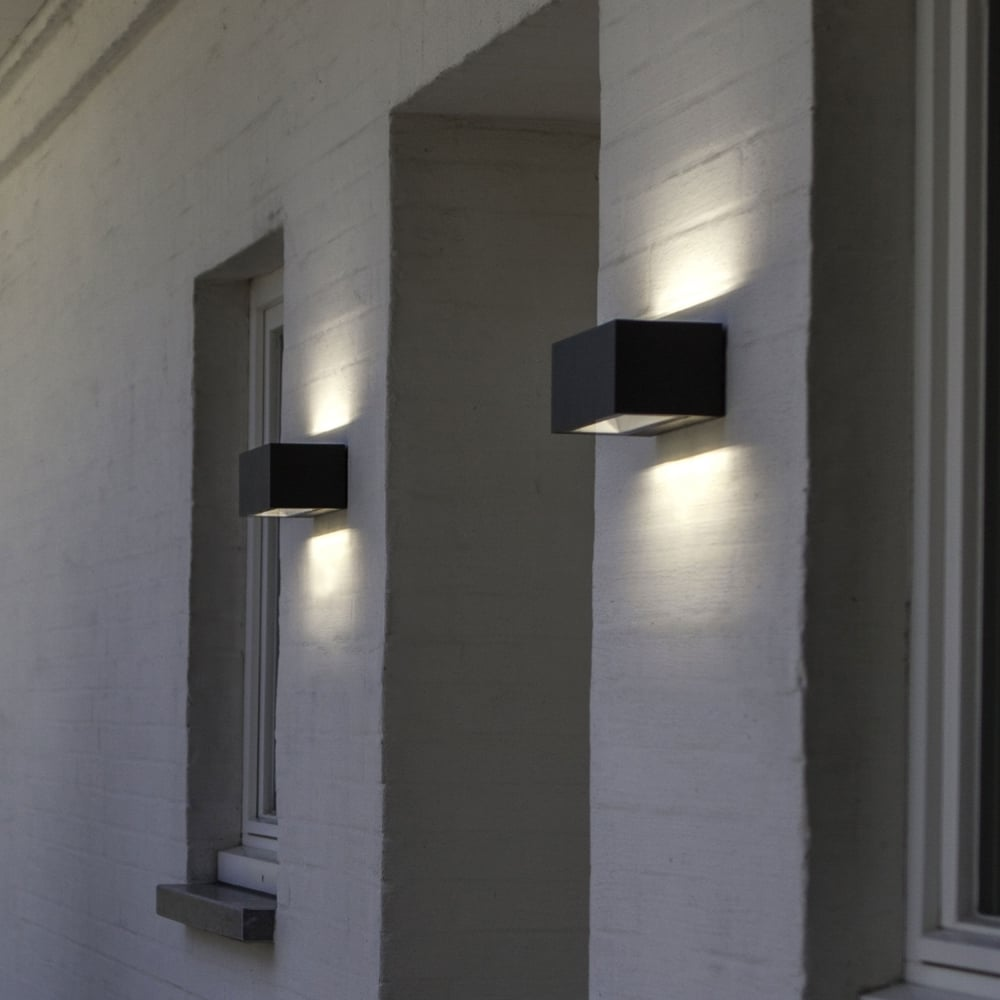 Lutec Gemini Brick Medium 20W Exterior LED Up and Down Wall Light