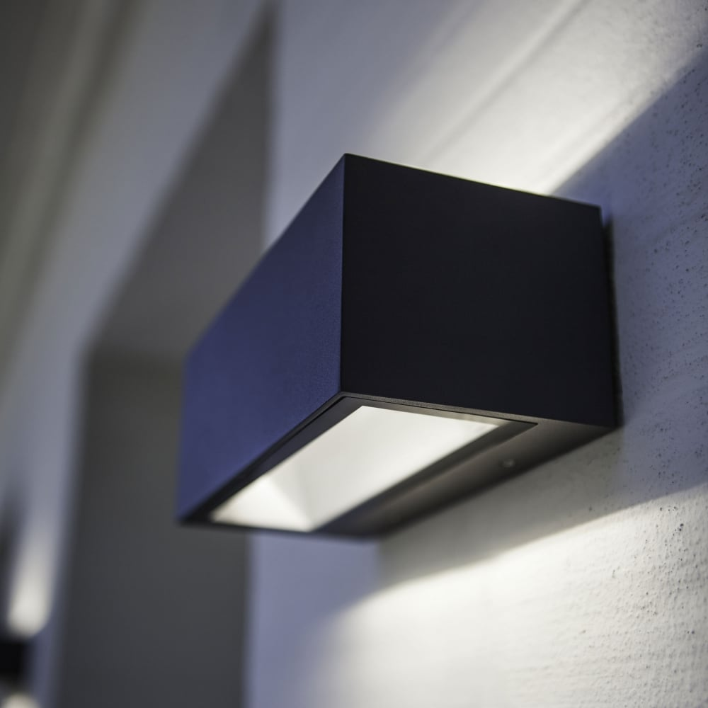 lutec gemini brick small 9w exterior led up and down wall light in graphite fitting type from. Black Bedroom Furniture Sets. Home Design Ideas