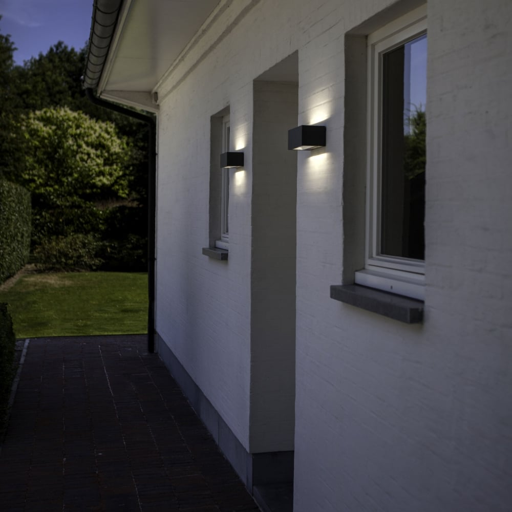 lutec gemini brick small 9w exterior led up and down wall light in