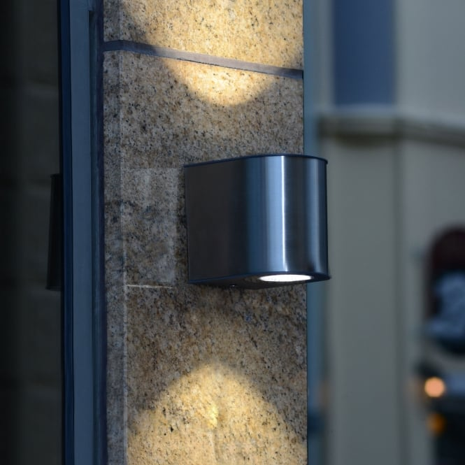 Lutec Gemini Small 9W Exterior LED Up and Down Wall Light in Stainless Steel