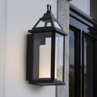 Hom 16W Coach Lantern Exterior LED Wall Light in Black