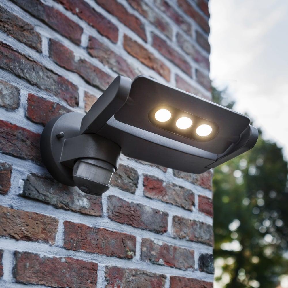 Lutec ledspot 9w pir directional exterior single led wall light in ledspot 9w pir directional exterior single led wall light in graphite mozeypictures Image collections
