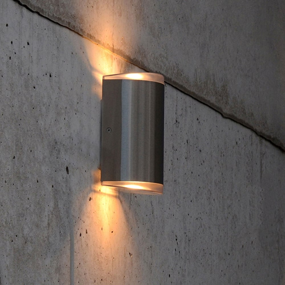 lutec path 15w exterior led up and down wall light in stainless steel fitting type from dusk. Black Bedroom Furniture Sets. Home Design Ideas