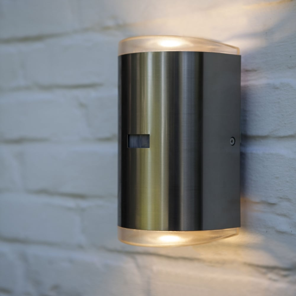 Lutec Path Pir 16w Exterior Led Up And Down Wall Light In Stainless Steel Fitting Type From