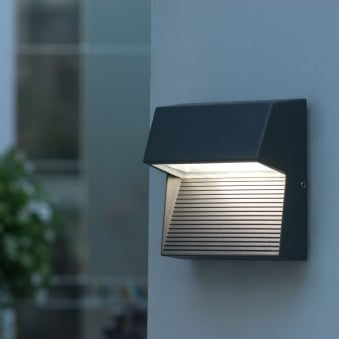 Radius Square 9W Exterior LED Low Level Wall Light or Step Light in Graphite