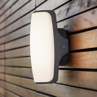 Seco 8W Exterior LED Wall Light in Graphite