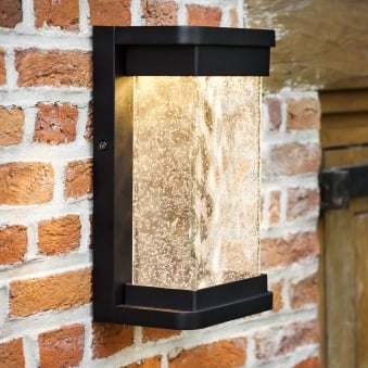 Starry 16W Lantern Exterior LED Wall Light in Black