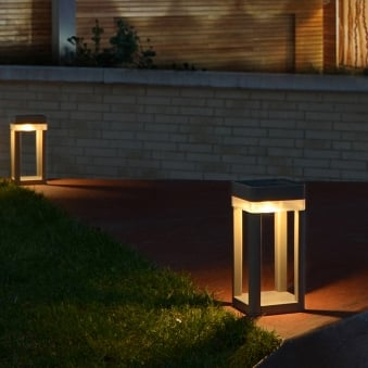Table Cube Portable Solar Powered LED Bollard Light in Graphite with Touch Dimmer