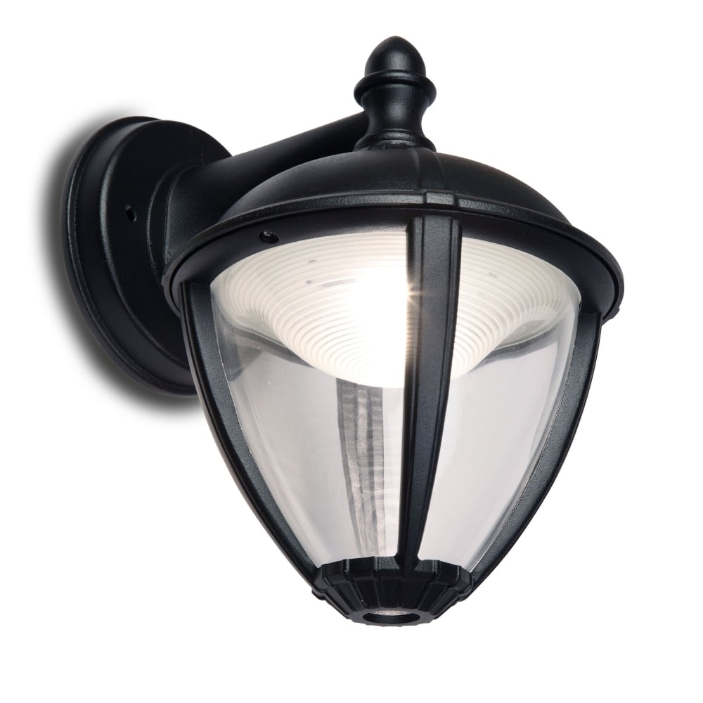 Lantern Type Wall Lights : Lutec Unite Down 6.5W Lantern Exterior LED Wall Light in Black - Fitting Type from Dusk Lighting UK