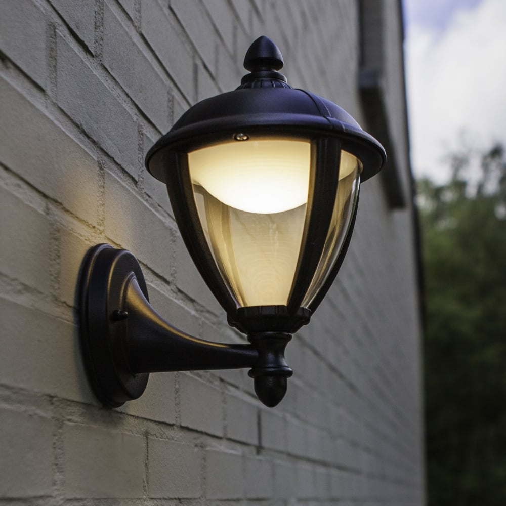 Lantern Type Wall Lights : Lutec Unite Up 6.5W Lantern Exterior LED Wall Light in Black - Fitting Type from Dusk Lighting UK