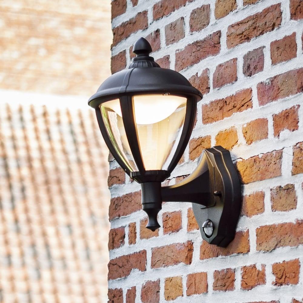Lutec unite up pir 9w lantern exterior led wall light in black unite up pir 9w lantern exterior led wall light in black mozeypictures Image collections