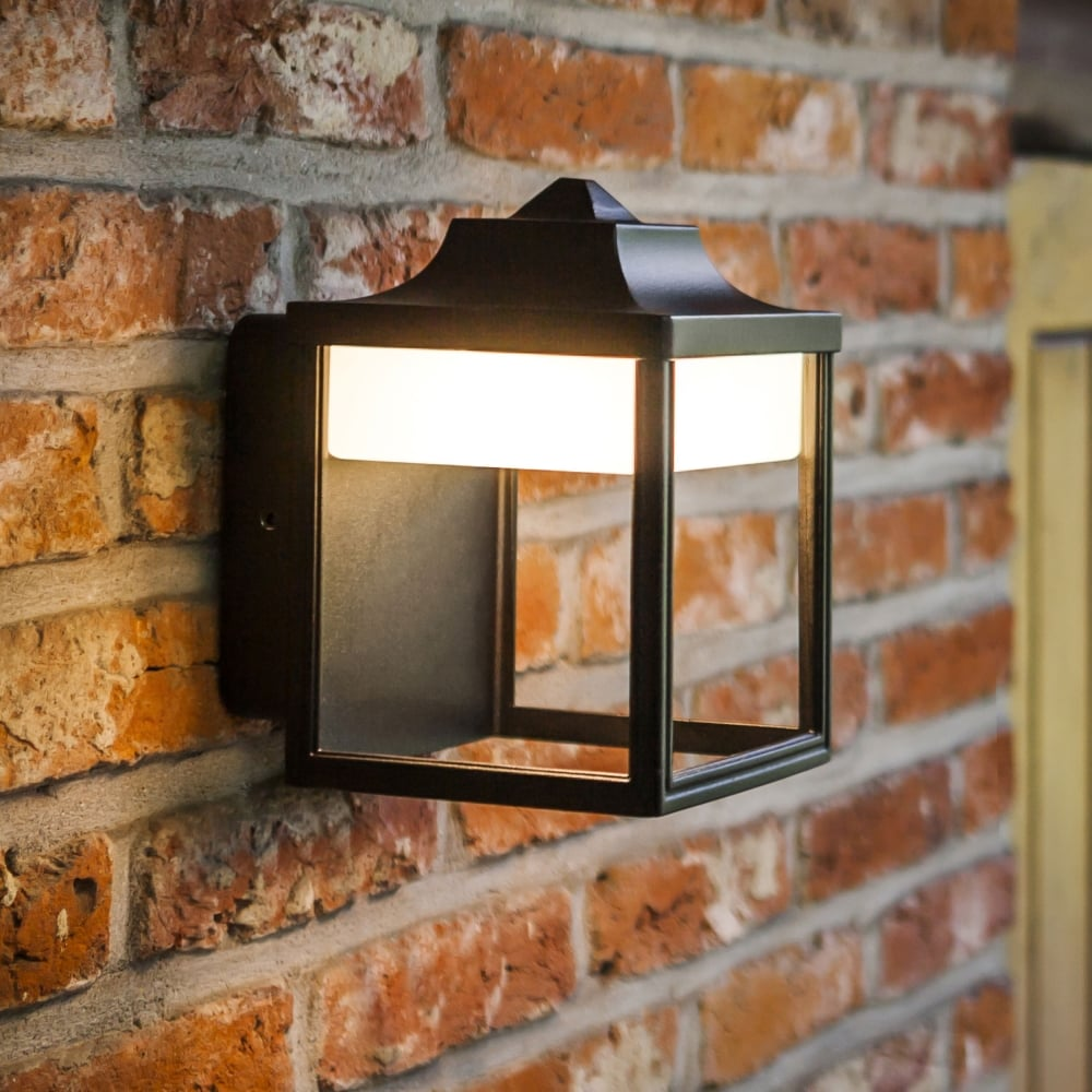 Lutec security lights lutec outdoor lights dusk lighting zoe 9w lantern exterior led wall light in black aloadofball Image collections