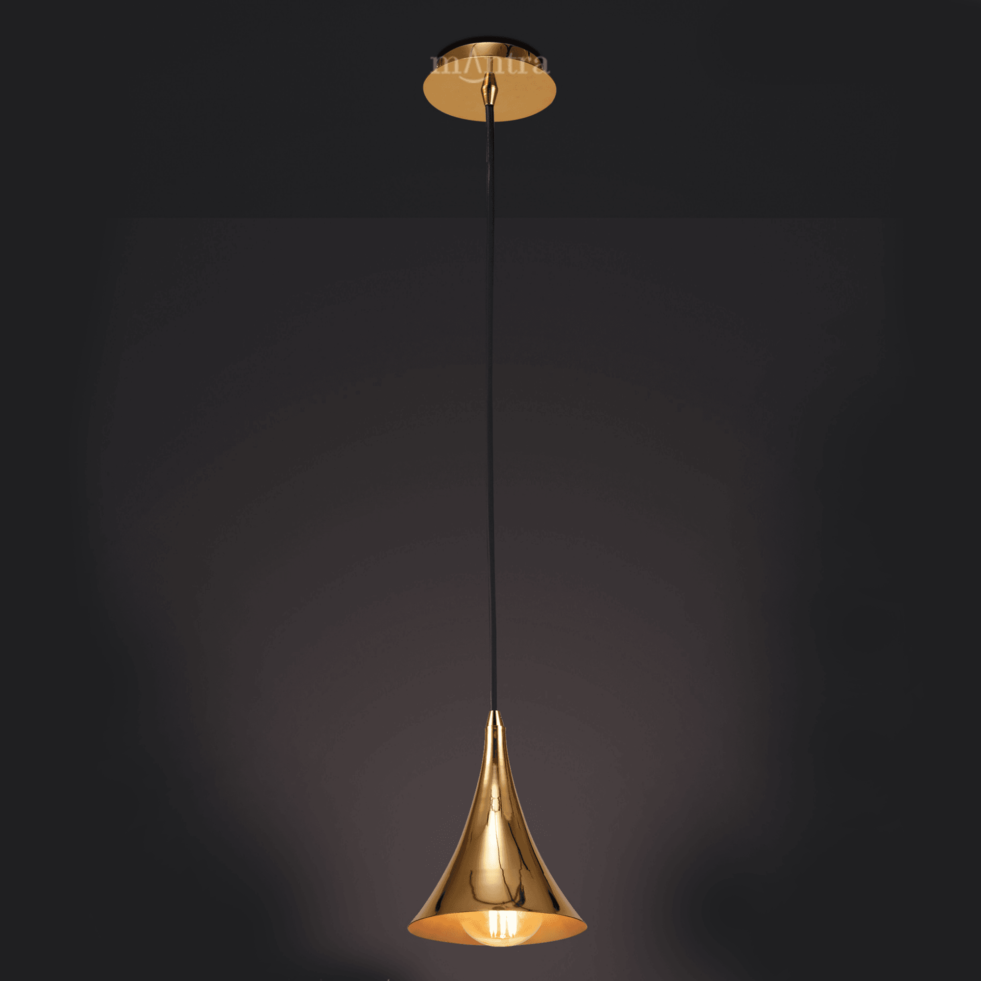 M5908 Jazz Oro Single Cone Pendant Light In Polished Gold