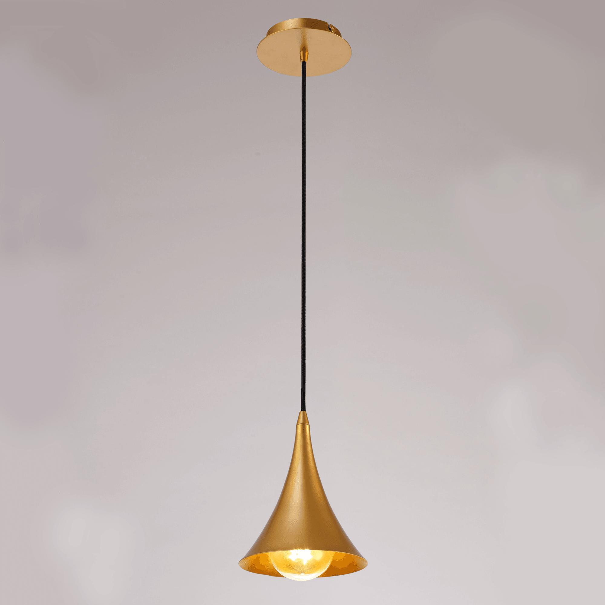 Mantra M6355 Jazz Single Cone Pendant Light In Painted Matt Gold