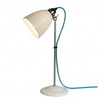 Hector Bibendum Table Light in White with Turquoise Cable