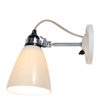 Hector Medium Dome Switched Wall Light in Natural White Bone China