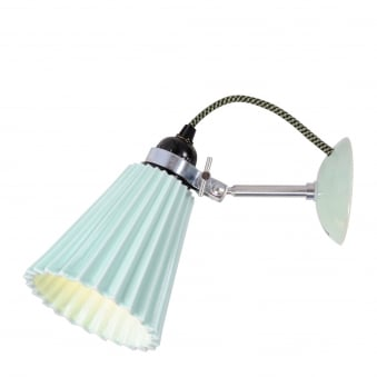 Hector Medium Pleat Wall Light in Pale Green Bone China