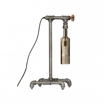 Industrial Gas Tap Table Lamp with Smoked Glass Shade