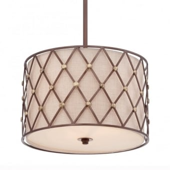 Brown Lattice Medium Pendant in Copper Canyon