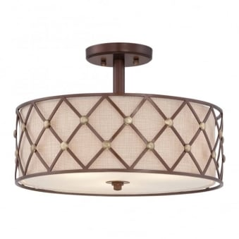 Brown Lattice Semi Flush Ceiling Light in Copper Canyon