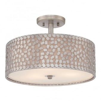 Confetti Semi Flush Ceiling Light in Old Silver