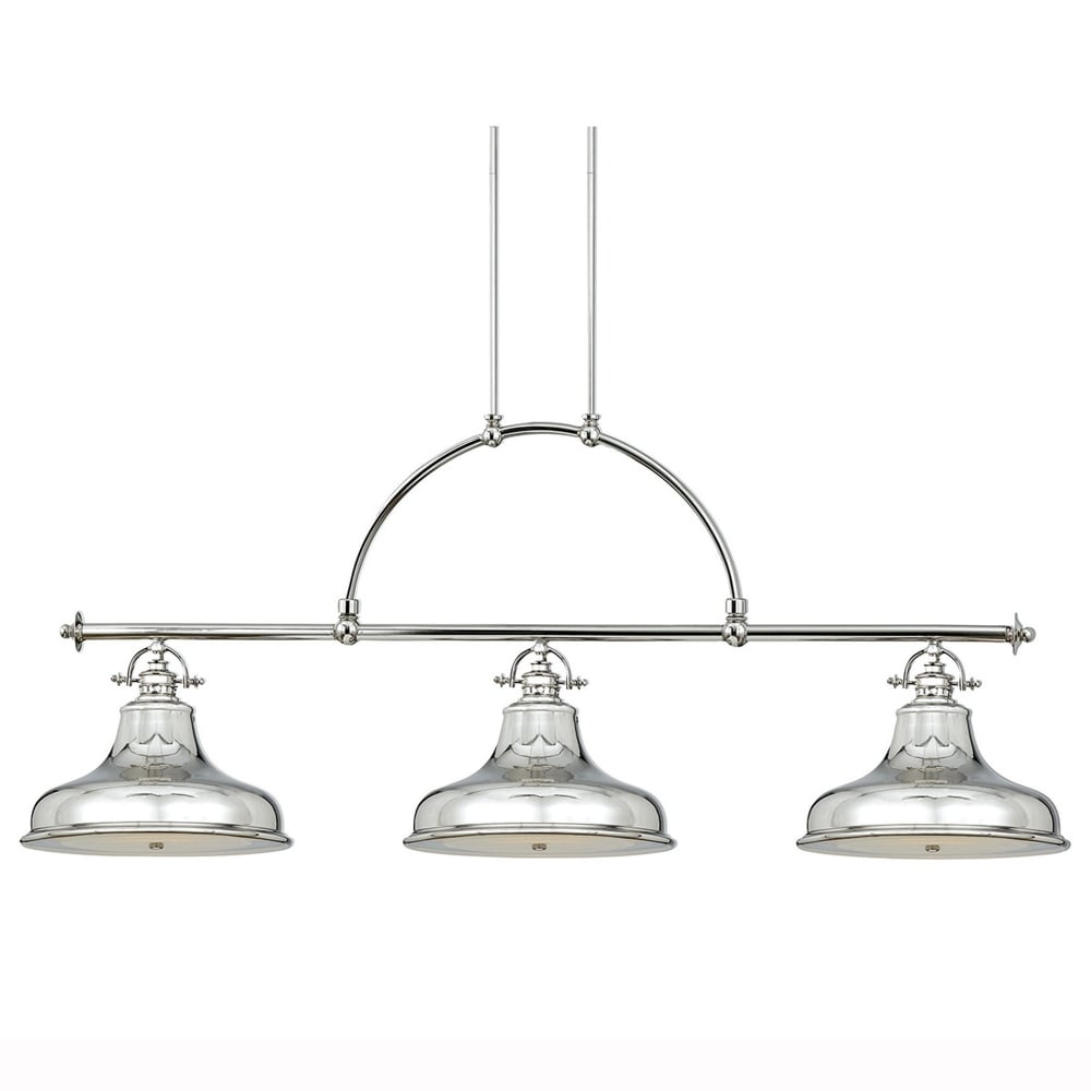 quoizel emery three light bar pendant in imperial silver fitting