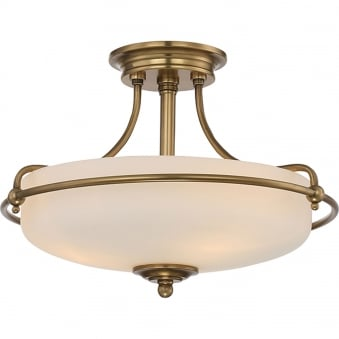 Griffin 3lt Semi-Flush in Weathered Brass