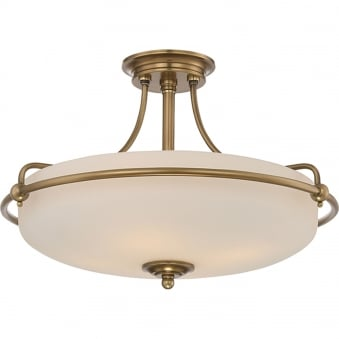 Griffin 4lt Semi-Flush in Weathered Brass