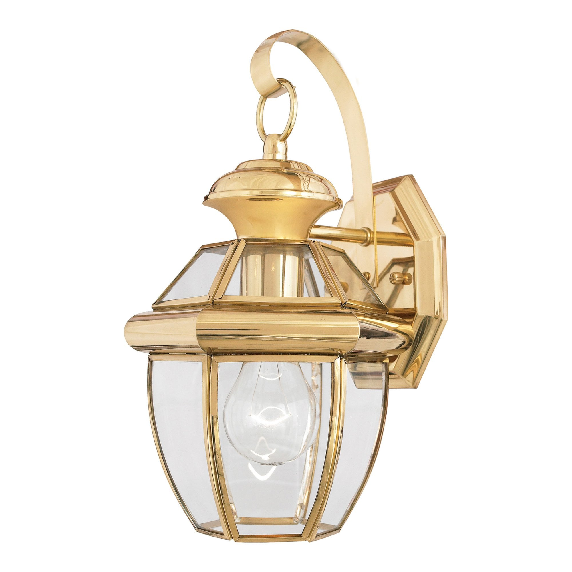 Quoizel Newbury 1 Light Small Outdoor Wall Lantern In Polished Brass