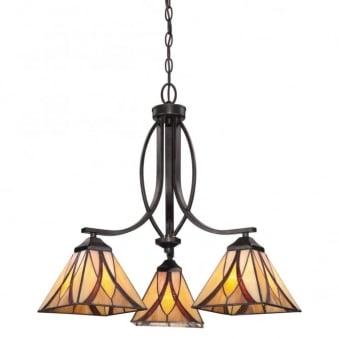 Tiffany Asheville 3 Arm Chandelier