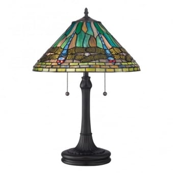 Tiffany Dragonfly King Table Lamp in Vintage Bronze
