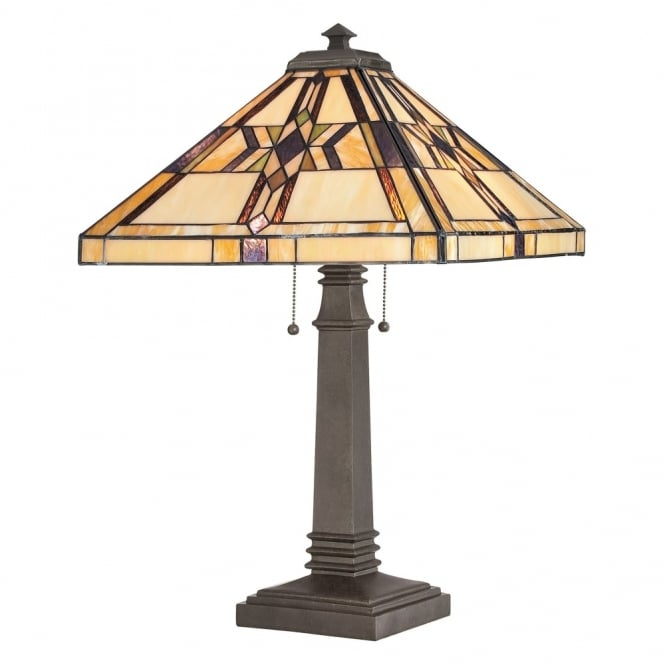 Quoizel Tiffany Finton Table Lamp in Vintage Bronze
