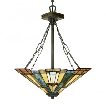 Tiffany Inglenook Ceiling Pendant Up Light