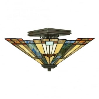Tiffany Inglenook Semi Flush Ceiling Light