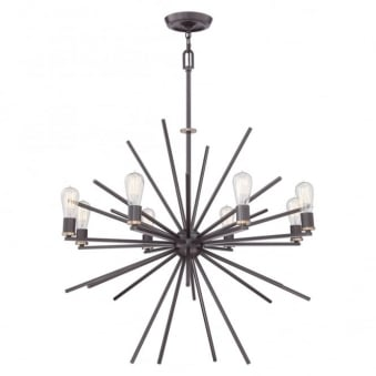 Uptown Carnegie 8 Light Chandelier in Wetern Bronze