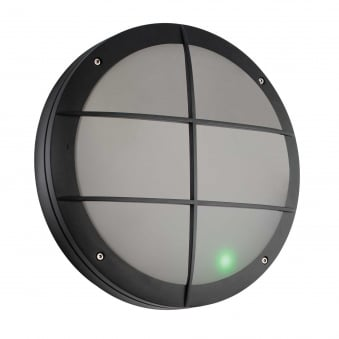 Luik Motion Sensor Grill IP65 Outdoor Light in Black with Emergency Feature