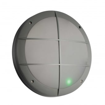 Luik Motion Sensor Grill IP65 Outdoor Light in Grey with Emergency Feature