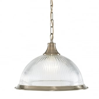 American Diner Antique Brass Pendant with Clear Ribbed Glass Shade
