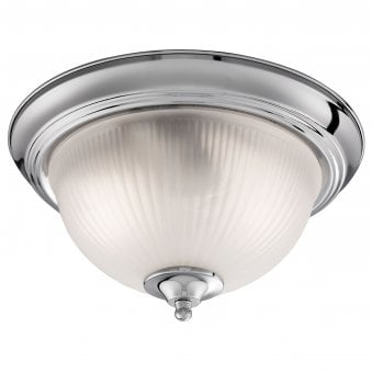 American Diner Satin Silver Flush Fitting with Acid Ribbed Glass Shade