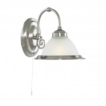 American Diner Satin Silver Wall Light with Acid Ribbed Glass Shade