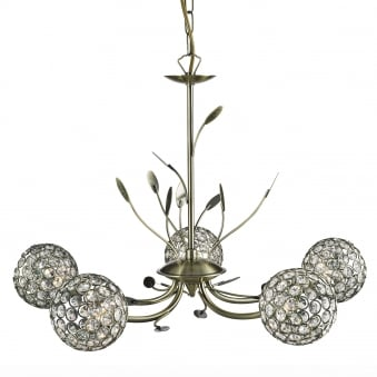 Bellis II Five Arm Antique Brass with Glass Deco Shades Pendant Light